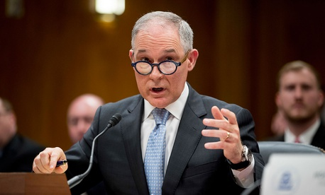 Scott Pruitt testifies before a Senate Appropriations subcommittee on the Interior, Environment, and Related Agencies in May.