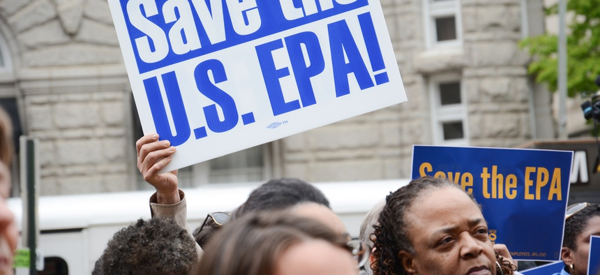 American Federation of Government Employees held a rally on April 25, 2018 outside of EPA headquarters.