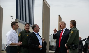 President Trump reviews border wall prototypes on March 13, 2018, in San Diego.