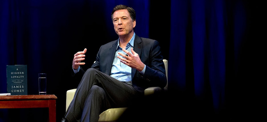 James Comey speaks during his book tour in April.