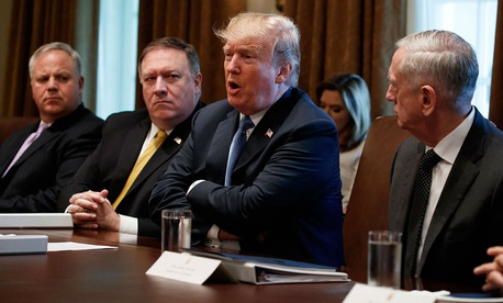 President Trump speaks during a Cabinet meeting at the White House, June 21, 2018.