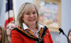 Oklahoma Gov. Mary Fallin speaks about a law that allows pay-for-success funding for projects aiming to reduce female incarceration rates in 2017.