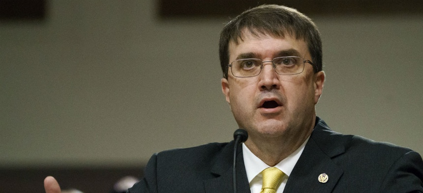 VA nominee Robert Wilkie testifies at a Senate confirmation hearing.