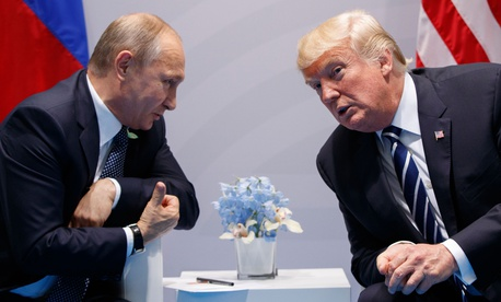 President Donald Trump meets with Russian President Vladimir Putin during their bilateral meeting at the G20 summit in Hamburg, Germany, on July 7, 2017.