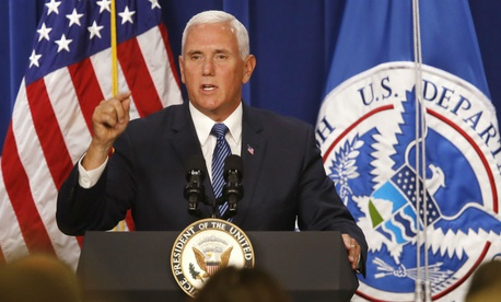 Vice President Mike Pence forcefully defended Immigration and Customs Enforcement agents at ICE headquarters in Washington on July 6.