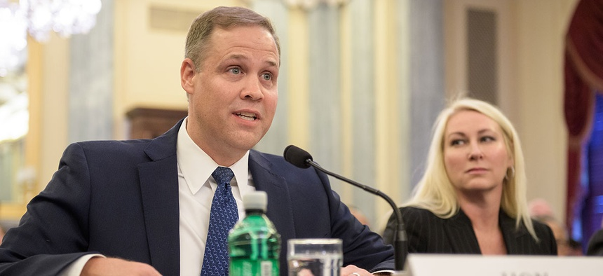 Rep. James Bridenstine, R-Okla., nominee for Administrator of NASA, testifies at his nomination hearing before the Senate Committee on Commerce, Science, and Transportation in November.