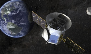 This image made available by NASA shows an illustration of the Transiting Exoplanet Survey Satellite (TESS).