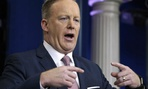 """Then White House spokesman Sean Spicer described President Trump's inaugural crowds using what an administration official described as """"alternative facts"""" in January 2017."""