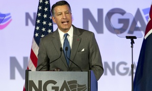 In this file photo, National Governors Association (NGA) Chair, Gov. Brian Sandoval of Nevada speaks during the National Governor Association 2018 winter meeting, on Feb. 24, 2018, in Washington, D.C.