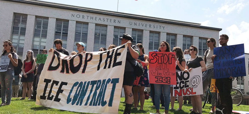 Students and community activists at Northeastern University called on the school to nix an ICE contract in July.