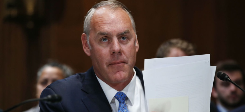 Interior Secretary Ryan Zinke testifies before Congress in May.