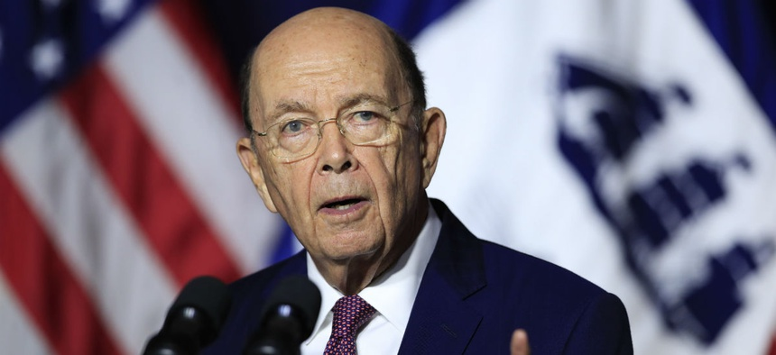 Commerce Secretary Wilbur Ross speaks to department employees in mid-July.