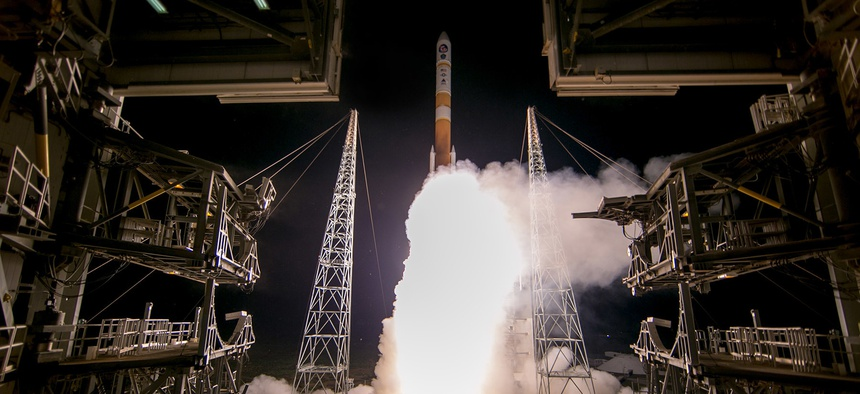 A United Launch Alliance Delta IV rocket launches from Space Launch Complex 37B, Cape Canaveral Air Force Station, Florida.