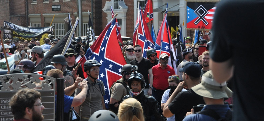 Violence erupted at the first Unite The Right rally in Charlottesville in 2017.