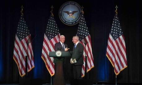 At the Pentagon, Vice President Mike Pence and Defense Secretary Jim Mattis announce the Trump administration's plan to create a new military service branch, Space Force,  on Thursday.