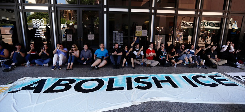 Protestors block entrance Immigration and Customs Enforcement offices in San Diego in July.