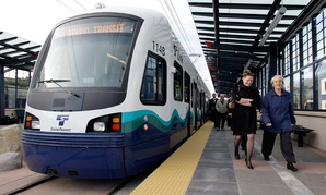 Sen. Patty Murray, right, and others depart after a test ride and media briefing for a Sound Transit Link light rail train , in Seattle in 2008.