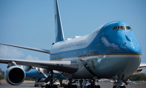 Air Force One refuels at Joint Base Pearl Harbor-Hickam, Hawaii, on President Donald Trump's return to Washington D.C. from the North Korea summit, June 12, 2018.