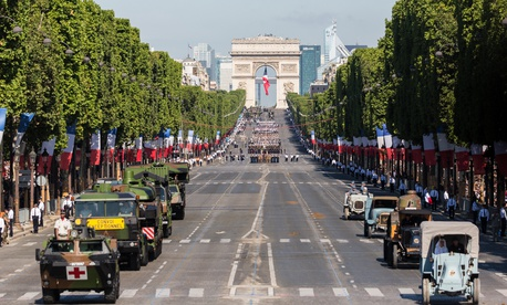 A September military parade down Paris' Avenue des Champs-Élysées is said to be one example Trump wants the U.S. parade to follow.