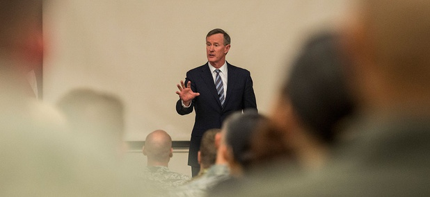 Retired U.S. Navy Adm. William H. McRaven speaks in January at Pfingston Reception Center located on Joint Base San Antonio.