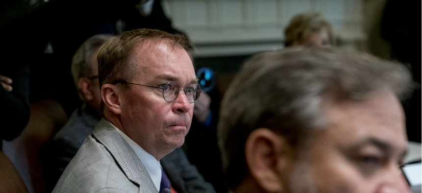 Budget Director Mick Mulvaney attends a cabinet meeting at the White House on Aug. 16.
