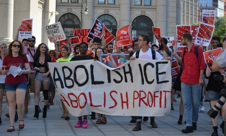 Protesters march in lower Manhattan on June 29.