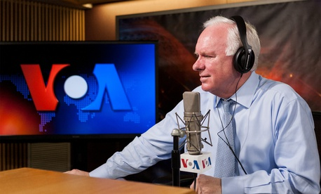 "Director John Lansing speaks to NPR ""Morning Edition"" from the VOA studios."