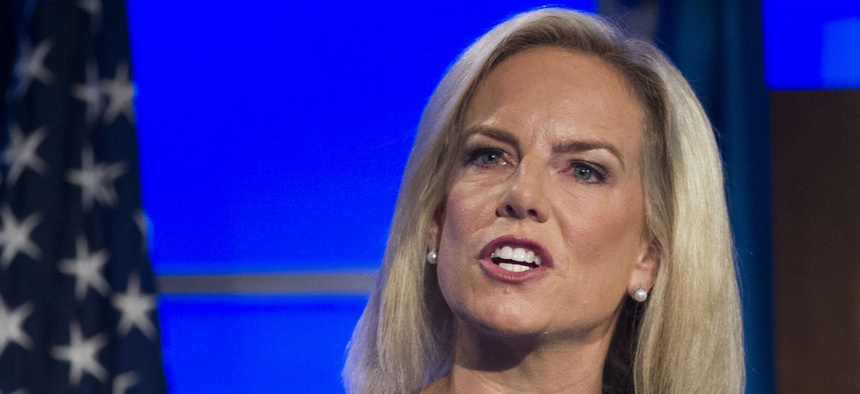 Homeland Security Department Secretary Kirstjen Nielsen speaks at The George Washington University on Wednesday.