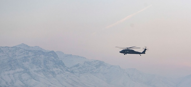 A helicopter flies over Bagram Air Field, Afghanistan, Jan. 30, 2018.
