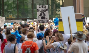 Demonstrators at the Families Belong Together rally protest the plight of migrant children separated from their families at the border in Chicago in June.