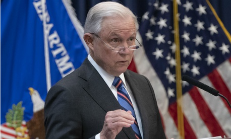 Attorney General Jeff Sessions speaks to immigration judges in Falls Church, Va., on Monday.