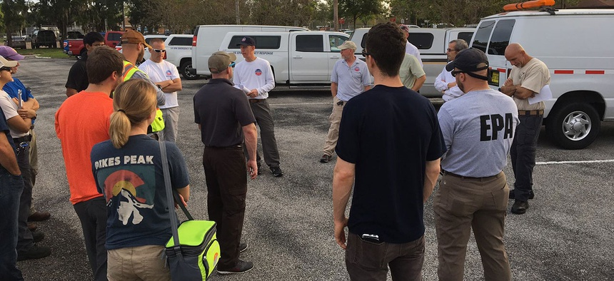 EPA officials meet in preparation for Hurricane Irma in Florida in 2017.
