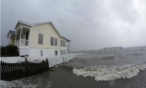 Water surrounds a home in Swansboro N.C., as Hurricane Florence hits.