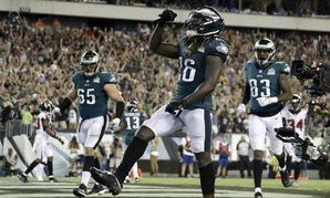 Philadelphia Eagles' Jay Ajayi celebrates after scoring a touchdown during the second half of an NFL football game against the Atlanta Falcons on Sept. 6, 2018, in Philadelphia.