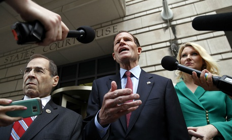 Rep. Jerrold Nadler, D-N.Y., left, Sen. Richard Blumenthal, D-Conn., and Constitutional Accountability Center Attorney Elizabeth Wydra speak to the media about a lawsuit filed on behalf of nearly 200 members of Congress.