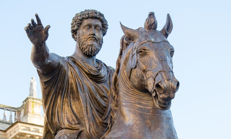 A statue of the emperor Marcus Aurelius sits at the Capitoline Hill in Rome.