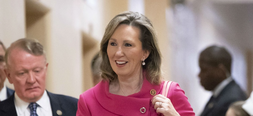 Rep. Barbara Comstock, R-Va., who is in a tight reelection battle, has been pressing Republicans to raise federal worker pay.