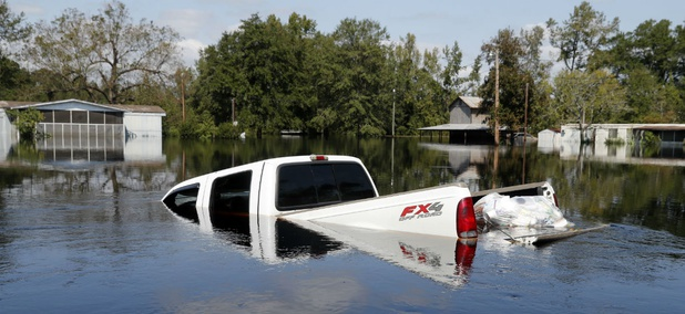 A truck in South Carolina is submerged in floodwaters after Hurricane Florence.
