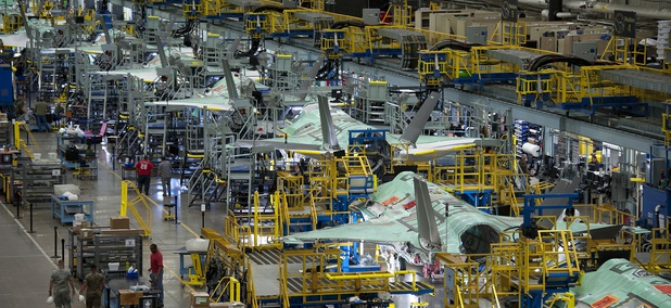 The F-35 production line in Fort Worth, Texas.