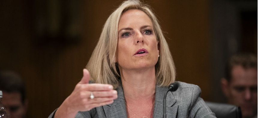 Homeland Security Department Secretary Kirstjen Nielsen testifies before the Senate Homeland Security and Governmental Affairs Committee on Wednesday.