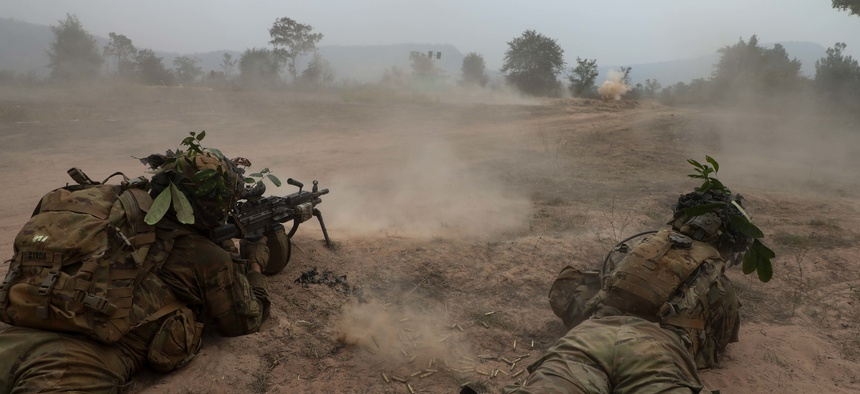 U.S. Army Soldiers from 1st Battalion, 21st Infantry Regiment, 2nd Infantry Brigade Combat Team, 25th Infantry Division and their Royal Thai Armed Forces counterparts participate in a life fire exercise during Exercise Cobra Gold 2018 in Thailand, Feb. 18