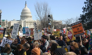 Protestors rally against the Iraq War in 2007.