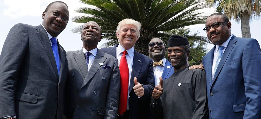 Donald Trump with African leaders, from left, Kenya's president Uhuru Kenyatta, president of Guinea Alpha Conde, president of the African Development Bank Akinwumi Adesina, Nigeria's VP Yemi Osinbajo and Ethiopia's then Prime Minister Hailema