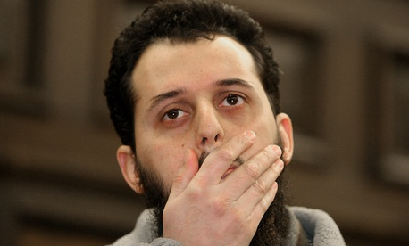 Moroccan Mounir El Motassadeq awaits the start of his hearing at a courtroom of the appellate court in Hamburg in 2007.