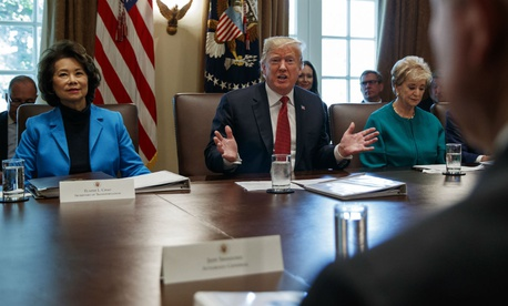 President Trump speaks during a Cabinet meeting on Wednesday.