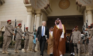 In this April 19, 2017 photo, U.S. Defense Secretary James Mattis, center left, departs after his meeting with Saudi Arabia's Deputy Crown Prince and Defense Minister Mohammed bin Salman, center right, in Riyadh, Saudi Arabia.