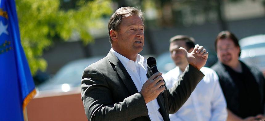 Sen. Dean Heller, R-Nev., speaks at a picnic for veterans in Las Vegas in April.