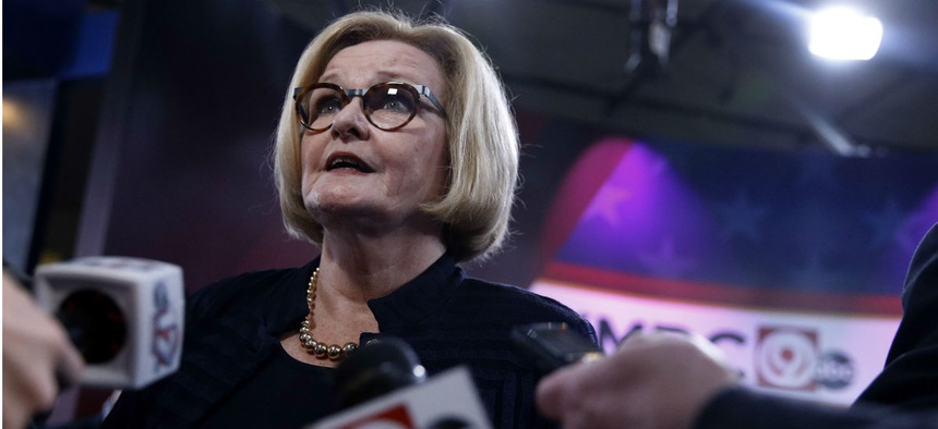 Sen. Claire McCaskill, D-Mo., talks to the media after a debate with opponent Josh Hawley. McCaskill is the top-ranking Democrat on the Senate Homeland Security and Governmental Affairs Committee.