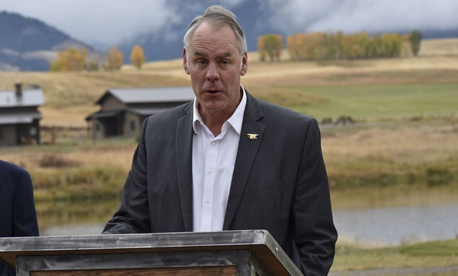 Interior Secretary Ryan Zinke earlier in October announces a ban on mining claims north of Yellowstone National Park.