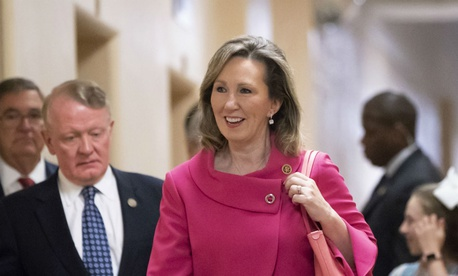 Rep. Barbara Comstock, R-Va., walks to a closed-door GOP strategy session at the Capitol in June.